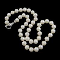 Naszyjnik z naturalnych pereł słodkowodnych, Perła naturalna słodkowodna, Mosiądz zapięcie zapinane, Koło, Naturalne, biały, 9-10mm, sprzedawane na około 18 cal Strand