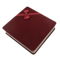 Velveteen Necklace Box, Square, coral red, 165x175x46mm, Sold By PC