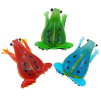 Fashion Lampwork Pendants, Frog, handmade, mixed colors, 27x42x12.50mm, Hole:Approx 6-8mm, 12PCs/Box, Sold By Box