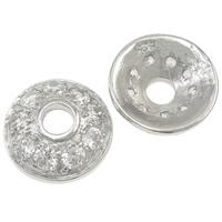 Srebrne końcówki koralików 925, Srebro 925, Płaskie koło, z sześcienną cyrkonią, 10.5x3.5mm, otwór:około 3mm, 5komputery/torba, sprzedane przez torba