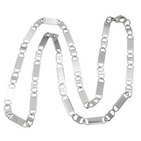 Stainless Steel Chain Necklace, 316L Stainless Steel, different size for choice & mariner chain, original color, Length:Approx 21 Inch, 10Strands/Lot, Sold By Lot
