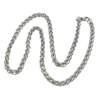 Stainless Steel Chain Necklace, 316L Stainless Steel, wheat chain & different size for choice, original color, Length:Approx 21 Inch, Sold By Lot