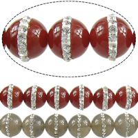 Agate Beads, Mixed Agate, with Rhinestone Clay Pave, Round, with 16 pcs rhinestone, 12mm, Hole:Approx 1.2mm, Length:Approx 16 Inch, 2Strands/Lot, Approx 33PCs/Strand, Sold By Lot