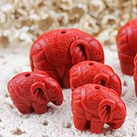 киновари Подвески, Киноварь, Слон, гравированный & разный размер для выбора, отверстие:Приблизительно 1-2mm, продается Лот