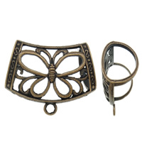 Zinc Alloy Scarf Slide Bail, antique copper color plated, with butterfly pattern & hollow, lead & cadmium free, 44x35x18mm, Hole:Approx 2, 20.5x15.5mm, 10PCs/Bag, Sold By Bag