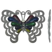 Zinklegering Animal Hangers, Zinc Alloy, Vlinder, lood zwarte kleur vergulde, glazuur & met strass, lood en cadmium vrij, 65x51x5mm, Gat:Ca 2mm, 10pC's/Bag, Verkocht door Bag