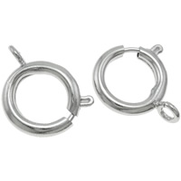 Brass Spring Ring Clasp, Donut, platinum color plated, nickel, lead & cadmium free, 18.50x21.50x5mm, Hole:Approx 2.5mm, 10PCs/Bag, Sold By Bag