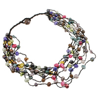 Natural Freshwater Pearl Necklace with Nylon Cord Baroque 8-strand multi-colored 7-10mm Sold Per Approx 20 Inch Strand