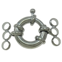Zinc Alloy Spring Ring Clasp, Donut, platinum color plated, 3-strand, nickel, lead & cadmium free, 28x20x4mm, Hole:Approx 3mm, 50PCs/Bag, Sold By Bag