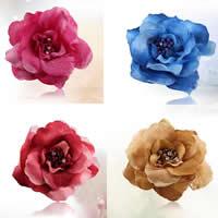 Цветок волос клип Брошь, ткань, с Эластичный Шнур капроновый & Железо, Форма цветка, можно использовать в качестве броши или цветка волос & со стразами, разноцветный, 120mm, 10ПК/сумка, продается сумка