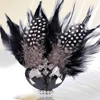 Цветок волос клип Брошь, перья, с Шерстяная ткань & Кристаллы & Железо & цинковый сплав, можно использовать в качестве броши или цветка волос & со стразами & двухцветный, 110x55mm, 5ПК/сумка, продается сумка