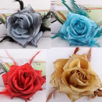 Цветок волос клип Брошь, ткань, с Эластичный Шнур капроновый & перья & Железо, Форма цветка, можно использовать в качестве броши или цветка волос, разноцветный, 100mm, 20ПК/сумка, продается сумка
