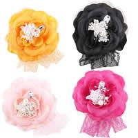 Цветок волос клип Брошь, Шифон, с Кружево & Хлопок & Кристаллы & Стеклянный жемчуг, Форма цветка, можно использовать в качестве броши или цветка волос, разноцветный, 100x100mm, 10ПК/сумка, продается сумка