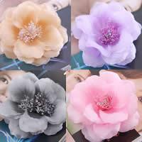 Цветок волос клип Брошь, Шифон, с пластик & Железо, Форма цветка, можно использовать в качестве броши или цветка волос & со стразами, разноцветный, 110mm, 10ПК/сумка, продается сумка