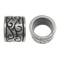 Stainless Steel Jewelry Beads, Column, blacken, 9x11mm, Hole:Approx 8.5mm, 100PCs/Lot, Sold By Lot