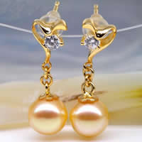Golden South Sea Pearl Drop Earring with 925 Sterling Silver Round natural with rhinestone gold Grade AA 7-7.5mm