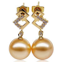 Golden South Sea Pearl Drop Earring with Brass Round natural with rhinestone gold Grade AAA 10-11mm