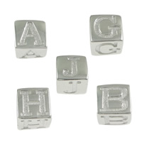 925 Sterling Silver European Bead, Cube, different designs for choice & without troll & stardust, 5.50x5.50x5.50mm, Hole:Approx 4mm, 20PCs/Lot, Sold By Lot