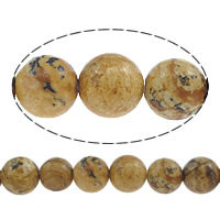 Natural Picture Jasper Beads, Round, 6mm, Hole:Approx 0.8mm, Length:Approx 15 Inch, 10Strands/Lot, Approx 60PCs/Strand, Sold By Lot