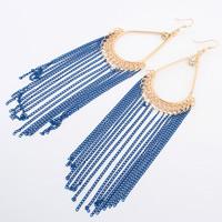 Zinc Alloy Tassel Earring, with brass chain, gold color plated, with painted & with rhinestone, more colors for choice, nickel, lead & cadmium free, 14x38mm, Sold By Pair