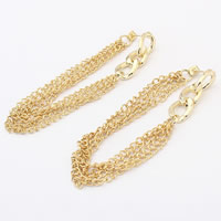 Brass Tassel Earring, gold color plated, twist oval chain, nickel, lead & cadmium free, 150mm, Sold By Pair