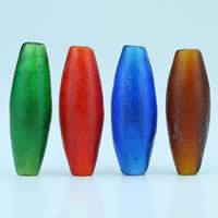 Matowe koraliki, Lampwork, Owal, Ręcznie robione, mieszane kolory, 13x37mm, otwór:około 3mm, 10komputery/torba, sprzedane przez torba