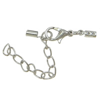 Iron Lobster Claw Cord Clasp, with 3cm extender chain, plated, with cord tip, more colors for choice, nickel, lead & cadmium free, 3x67x4mm, 100PCs/Bag, Sold By Bag