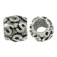 Messing European stijl kralen, Kolom, antiek zilver plated, met brief patroon & zonder troll, nikkel, lood en cadmium vrij, 7.50x9mm, Gat:Ca 4.5mm, 200pC's/Lot, Verkocht door Lot