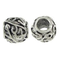 Messing European stijl kralen, Kolom, antiek zilver plated, zonder troll, nikkel, lood en cadmium vrij, 10x10mm, Gat:Ca 5mm, 200pC's/Lot, Verkocht door Lot
