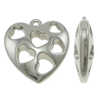 Copper Coated Plastic Pendant, Heart, platinum color plated, lead & cadmium free, 44x46x14mm, Hole:Approx 4mm, 10PCs/Bag, Sold By Bag