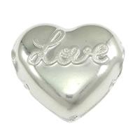 Srebrne koraliki 925, Srebro 925, Serce, słowo miłość, 11.50x10.50x6mm, otwór:około 3mm, 20komputery/wiele, sprzedane przez wiele