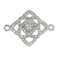 925 Sterling Silver Connectors, Rhombus, micro pave cubic zirconia & 1/1 loop, 22x16x4mm, Hole:Approx 1mm, 5PCs/Lot, Sold By Lot