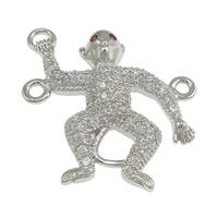 Коннекторы из серебра , Серебро 925 пробы, обезьяна, инкрустированное микро кубического циркония & петля 2/1, 20x22x3.50mm, отверстие:Приблизительно 1mm, 5ПК/Лот, продается Лот