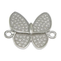 925 Sterling Silver Connectors, Butterfly, micro pave cubic zirconia & 1/1 loop, 20x16x2.50mm, Hole:Approx 1.5mm, 5PCs/Lot, Sold By Lot