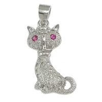 Cubic Zirconia Micro Pave Sterling Silver Pendant, 925 Sterling Silver, Cat, micro pave cubic zirconia, 14.50x21.50x3.50mm, Hole:Approx 3x4mm, 5PCs/Lot, Sold By Lot
