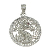 Cubic Zirconia Micro Pave Sterling Silver Pendant, 925 Sterling Silver, Flat Round, micro pave cubic zirconia, 18x21x2mm, Hole:Approx 3x4mm, 3PCs/Lot, Sold By Lot