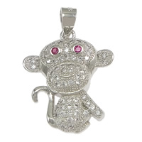 Cubic Zirconia Micro Pave Sterling Silver Pendant, 925 Sterling Silver, Monkey, micro pave cubic zirconia, 17x20.50x4mm, Hole:Approx 3x4mm, 3PCs/Lot, Sold By Lot