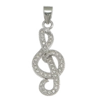 Cubic Zirconia Micro Pave Sterling Silver Pendant, 925 Sterling Silver, Music Note, micro pave cubic zirconia, 10x24x3mm, Hole:Approx 3x4mm, 5PCs/Lot, Sold By Lot