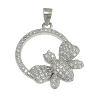 Cubic Zirconia Micro Pave Sterling Silver Pendant, 925 Sterling Silver, Butterfly, micro pave cubic zirconia, 21x23x4.50mm, Hole:Approx 3x4mm, 3PCs/Lot, Sold By Lot