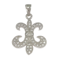 Cubic Zirconia Micro Pave Sterling Silver Pendant, 925 Sterling Silver, Fleur-de-lis, micro pave cubic zirconia, 15x20x1.50mm, Hole:Approx 3x4mm, 5PCs/Lot, Sold By Lot