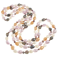 Freshwater Pearl Sweater Necklace, Baroque, multi-colored, 8-10mm, Sold Per Approx 56 Inch Strand