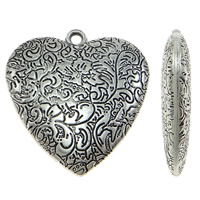 Copper Coated Plastic Pendant, Heart, antique silver color plated, lead & cadmium free, 48x50x10mm, Hole:Approx 3mm, 10PCs/Bag, Sold By Bag