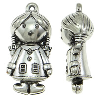 Copper Coated Plastic Pendant, Girl, antique silver color plated, lead & cadmium free, 25x53x19mm, Hole:Approx 2.5mm, 20PCs/Bag, Sold By Bag