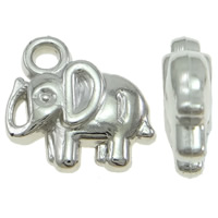 Copper Coated Plastic Pendant, Elephant, platinum color plated, lead & cadmium free, 12x11x3.50mm, Hole:Approx 2mm, 100PCs/Bag, Sold By Bag