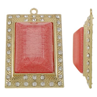 Resin Pendant, Zinc Alloy, with Resin, Rectangle, gold color plated, with rhinestone, lead & cadmium free, 47x70x19mm, Hole:Approx 3.5mm, 10PCs/Bag, Sold By Bag