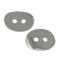 Oval Button Clasp Stainless Steel Flat Oval original color 14x11x1mm Hole:Approx 1.8mm 1000PCs/Lot