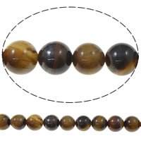 Natural Tiger Eye Beads, Round, 10mm, Hole:Approx 1mm, Length:Approx 15 Inch, 10Strands/Bag, Sold By Bag