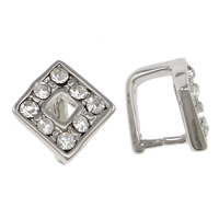 Zinc Alloy Pinch Bail, Rhombus, platinum color plated, with rhinestone, nickel, lead & cadmium free, 10x10x2mm, 1mm, 200PCs/Lot, Sold By Lot