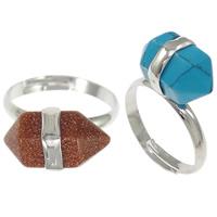 Кольца с камнями, цинковый сплав, с Полудрагоценный камень, Биконус, Платиновое покрытие платиновым цвет, различные материалы для выбора & граненый, не содержит никель, свинец, 10mm, размер:8, 20ПК/Лот, продается Лот