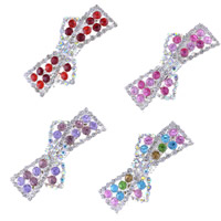 Hair Barrettes, Zinc Alloy, silver color plated, with rhinestone, mixed colors, 90x30mm, 80mm, 2Bags/Lot, 12PCs/Bag, Sold By Lot